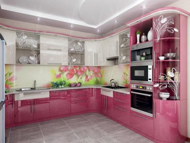 цветна розова кухня