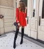 плетена рокля мини в червено