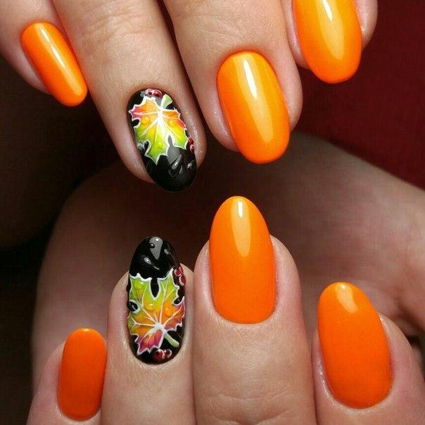 оранжев есенен маникюр за къси нокти