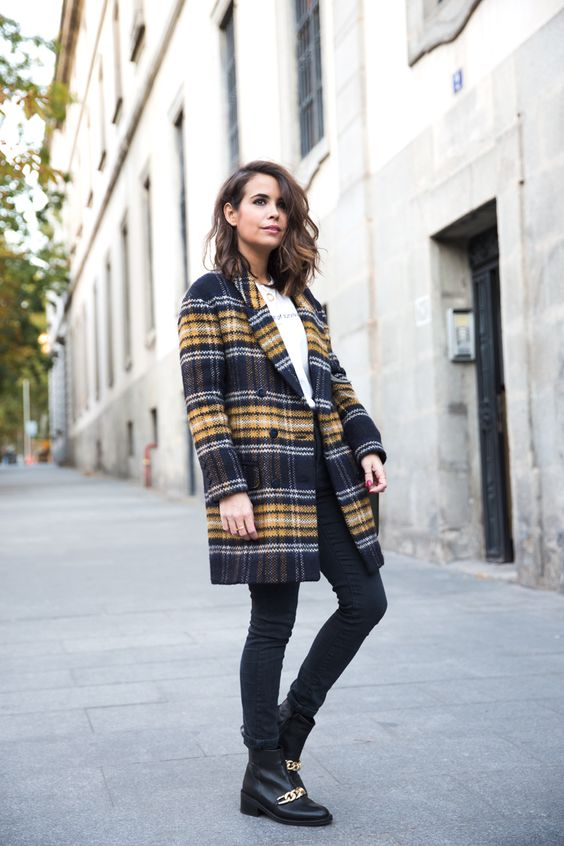 карирано палто до коляното