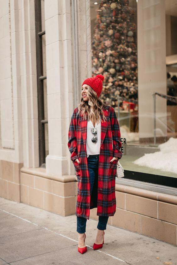 червено карирано палто