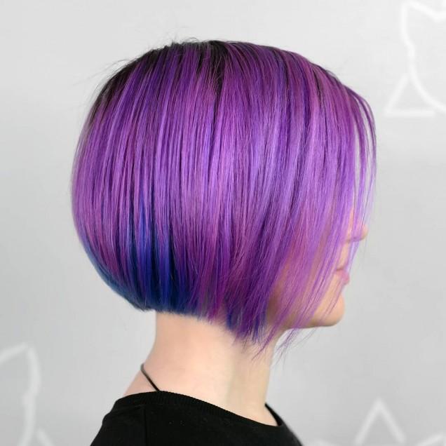 късо каре  в лилаво
