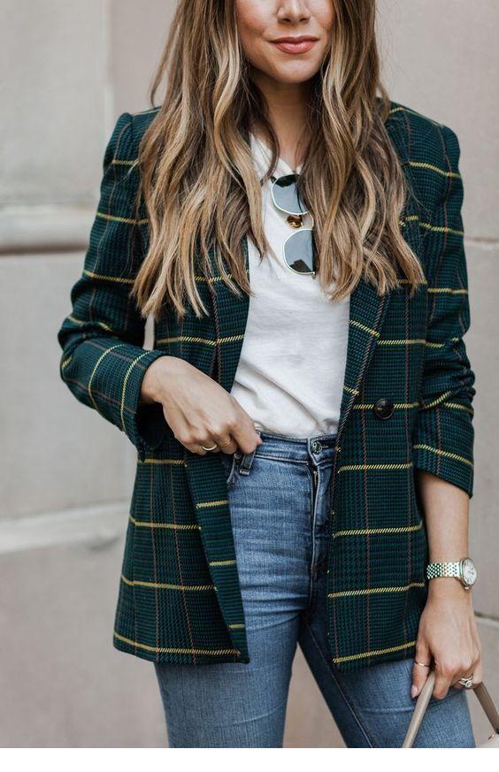 късо карирано палто в тъмнозелено