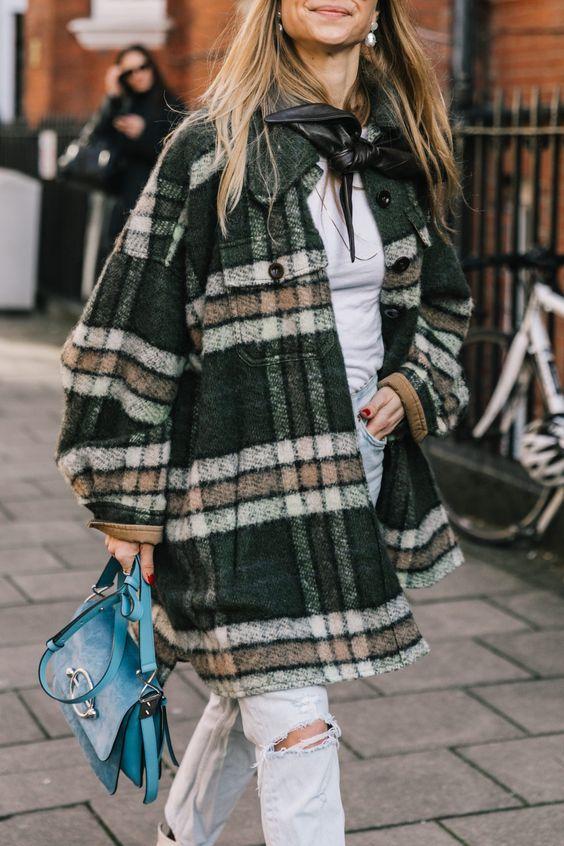карирано палто къс модел