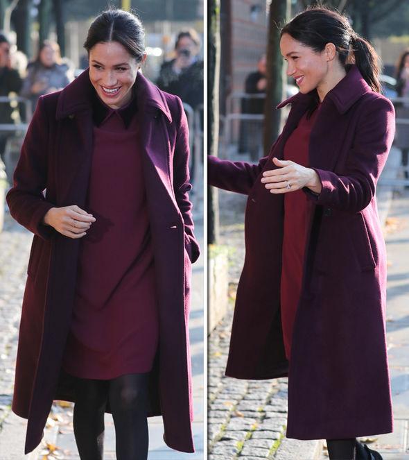 Меган Маркъл красиво винено палто