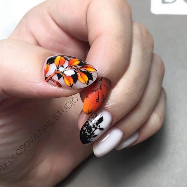 есенен маникюр в черно, бяло и оранжево