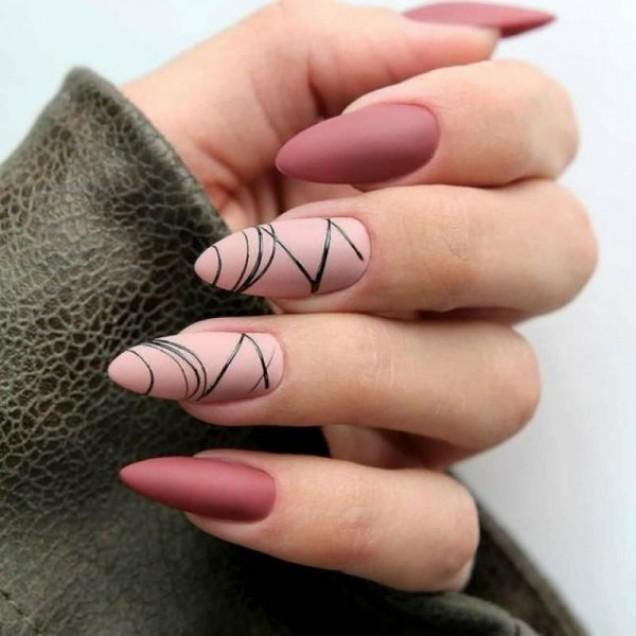 маникюр розово с линии