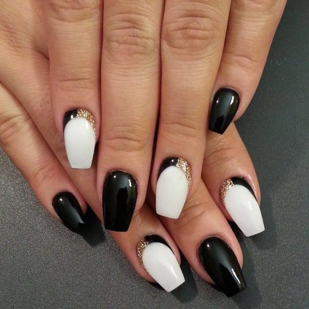 френски черно и бяло с блясък