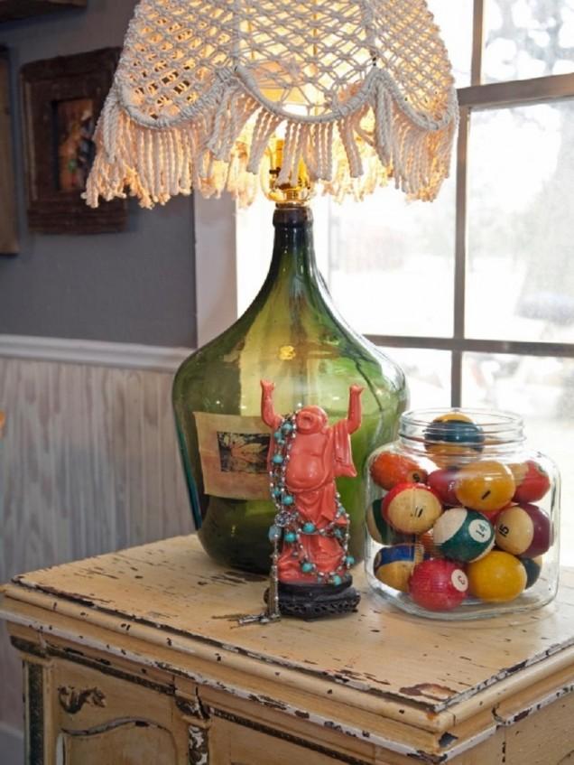 настолна лампа от бутилка
