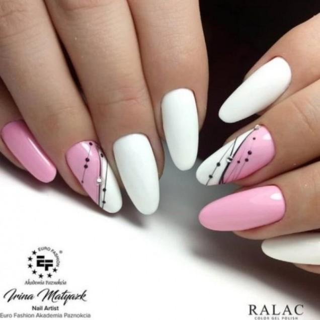 маникюр розово и бяло