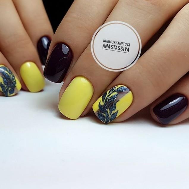маникюр в жълто и черно къси нокти