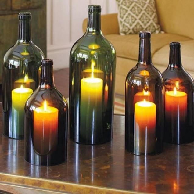 свещник от бутилки