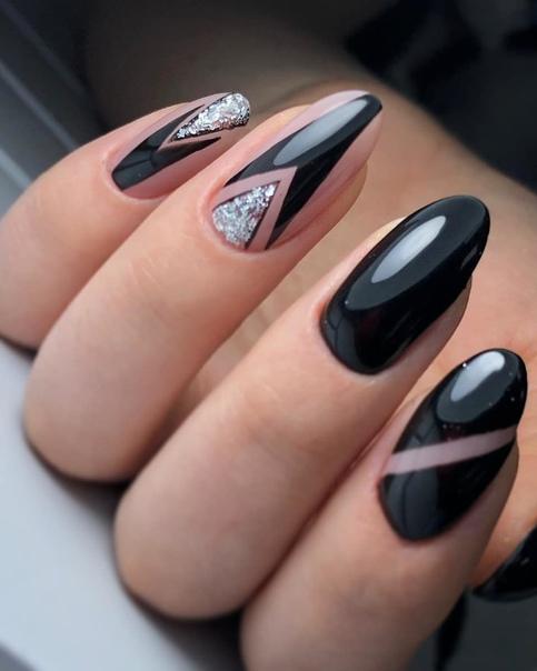 геометричен маникюр черно и сребро