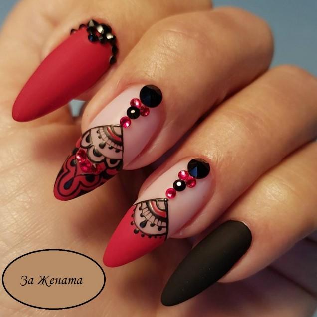 стилен арабски маникюр червено и черно