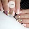 геометричен цветен френски къси нокти