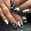 маникюр черно и бяло с котки