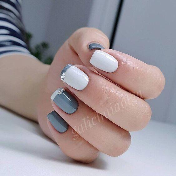 елегантен френч къси нокти