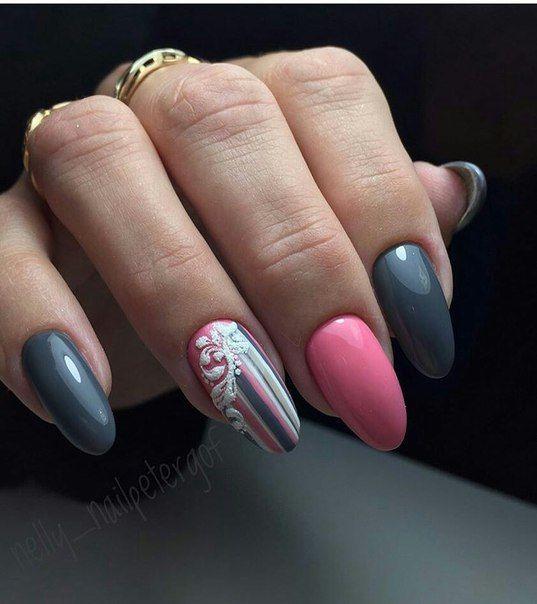маникюр сиво и розово