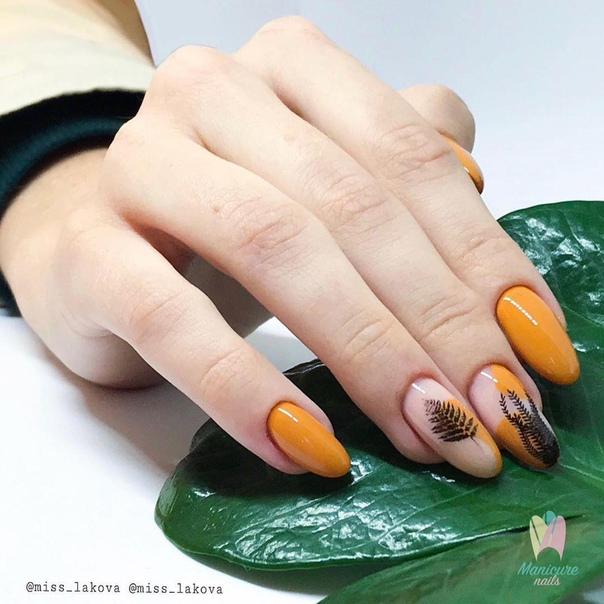 оранжев маникюр черни листа