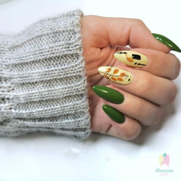 зелен маникюр с листа
