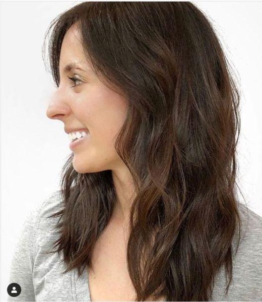 дълга коса с V-образен бретон