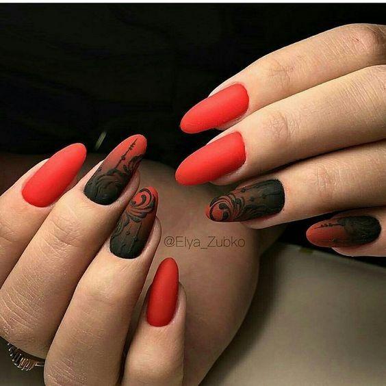 маникюр черно и червено