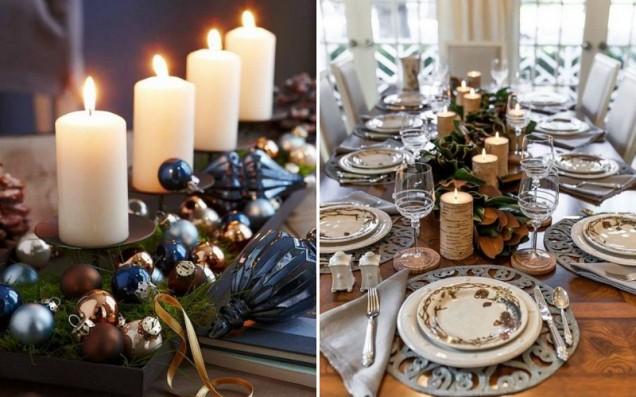 празнична маса свещи