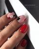 червен маникюр къси нокти