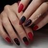 елегантен маникюр черно и червено