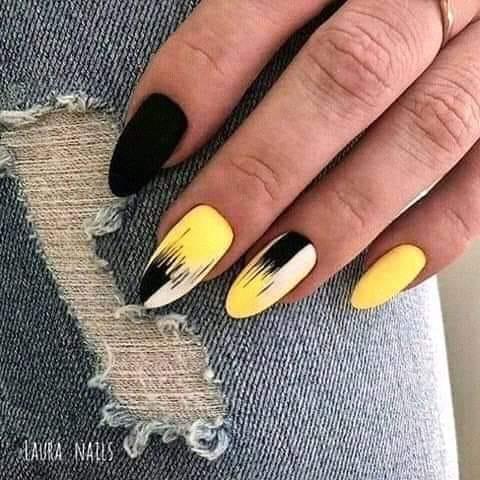 жълто-черен маникюр