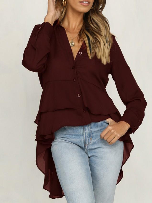 къса асиметрична блуза