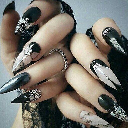 рок маникюр дълги нокти