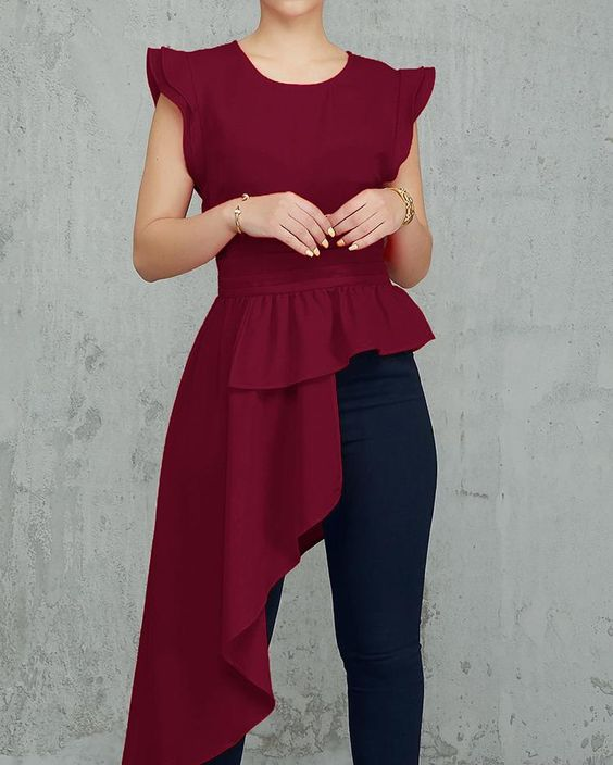елегантна асиметрична блуза