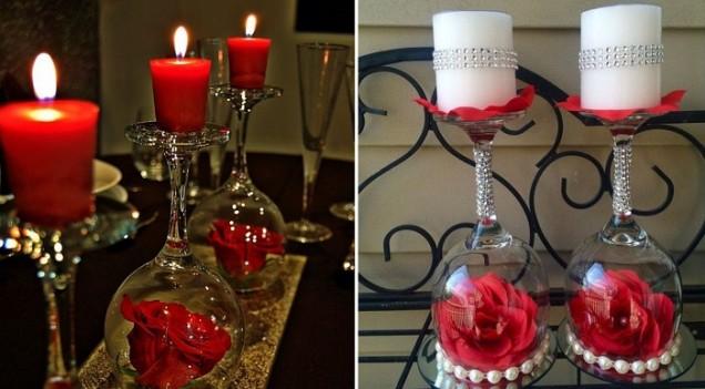 свещ на стъклена чаша