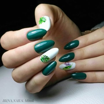 ефектен зелен маникюр