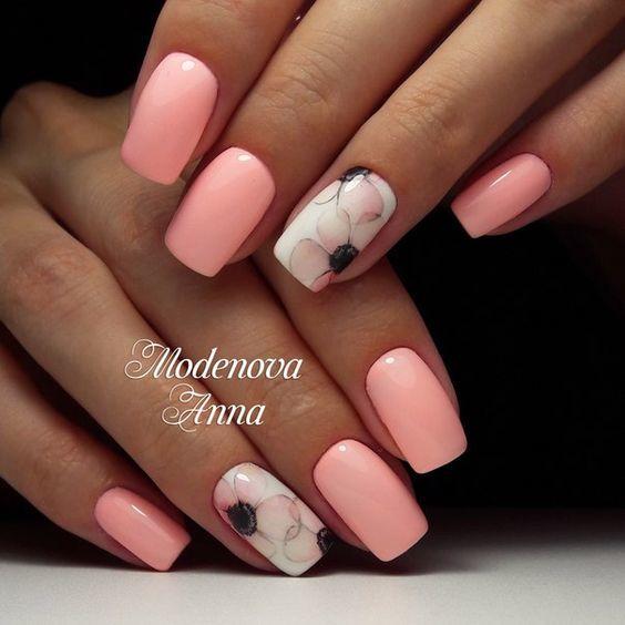 Маникюр в розово и сребристо