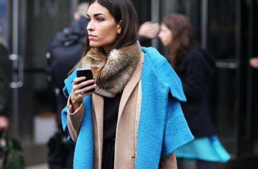 синьо палто