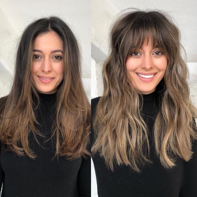 дълга коса с бретон