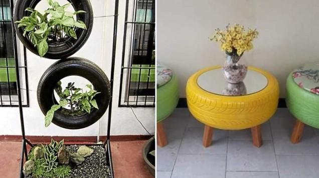 табуретка и маса от гуми