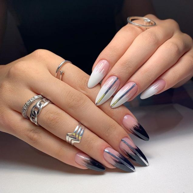 омбре на дълги нокти