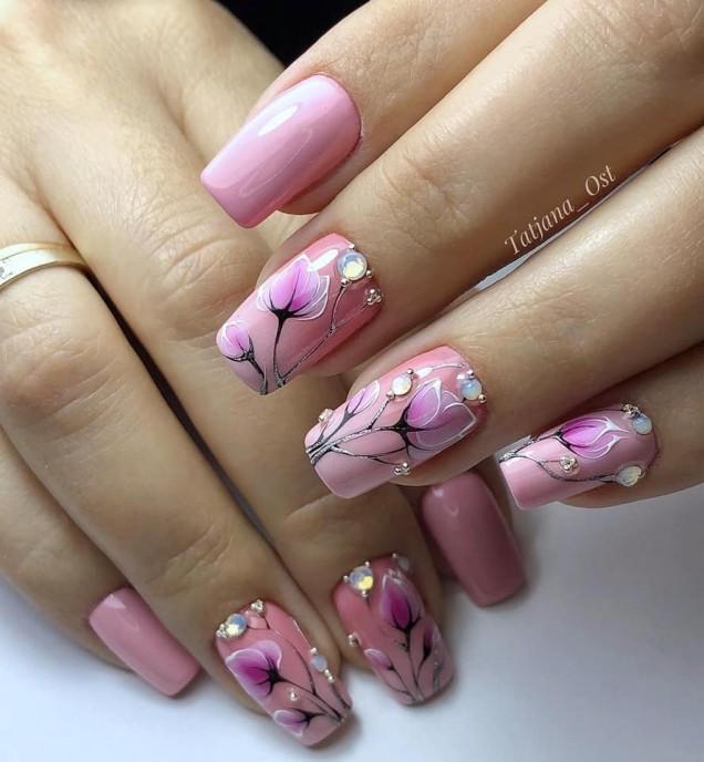 розов с цветя