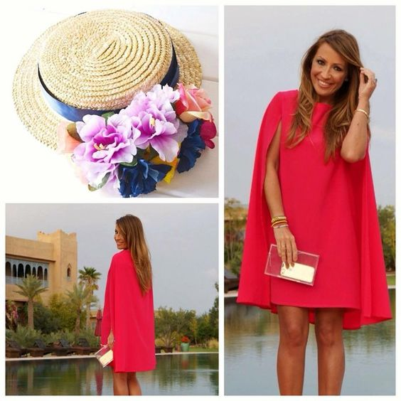 свободна червена рокля
