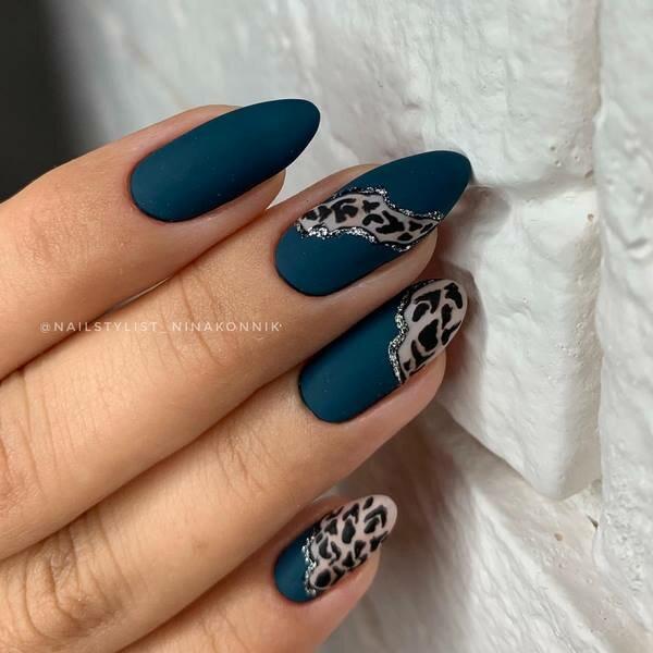 маникюр леопардов принт