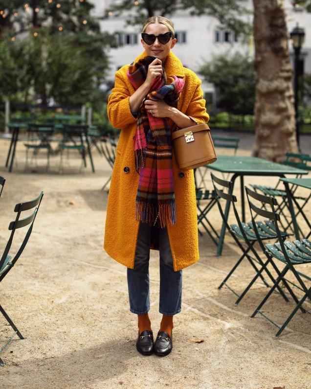 как да съчетаем палто с шал