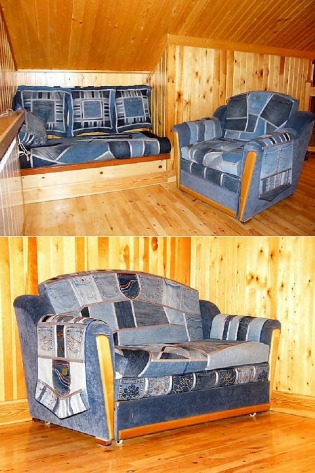 облицовка за мебели от стари дънки