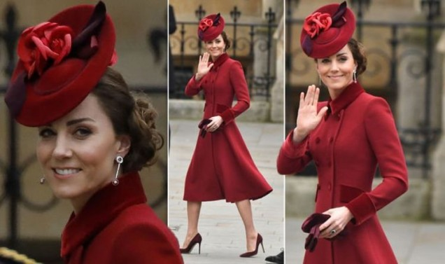 Кейт Мидълтън червена рокля