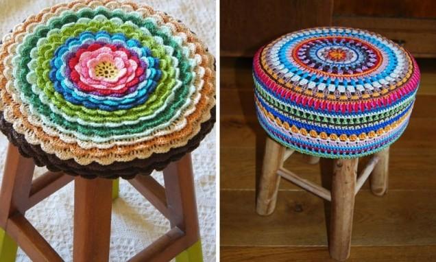 плетена поставка за табуретка