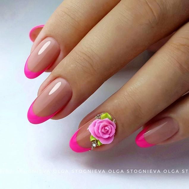 розов френч с цветя