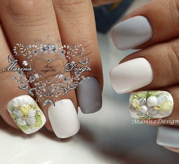 бял маникюр къси нокти