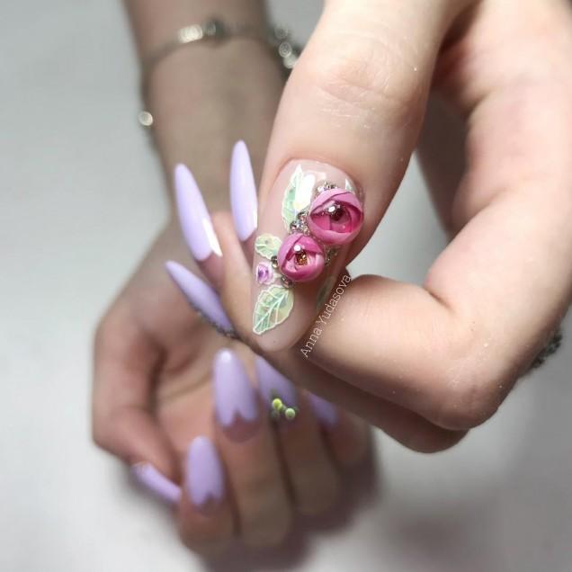 маникюр релефно цвете